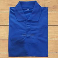 baju kaos polos polo shirt kerah pria dan wanita baju lacos-biru - M