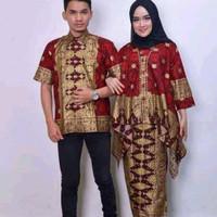 baju couple motif songket palembang - S