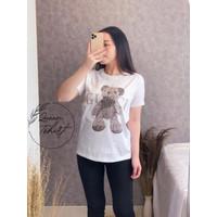 Baju Kaos Wanita Motif GcBear | TShirt Cewek Lengan Pendek | Baju Kaos - Putih, L
