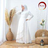 Modis Dress Baju Gamis Muslim Putih Turki Dubai Lebaran Haji *122