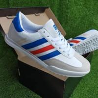 sepatu adidas beckenbuer putih lis biru merah sneakers pria