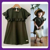 Daster Anak Rufel Polos warna Army - Dress anak Baju anak perempuan - size 5th