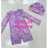 baju renang bayi anak perempuan topi mermaid import UV premium