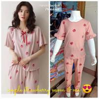 Set Piyama Baju Tidur Import Khusus Couple Ibu&Anak motif Strawberry