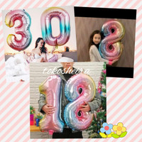 Balon Angka 80 cm Jumbo Ombre Rainbow Pelangi Balon Foil 32 Inch Bogor