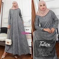 Baju Gamis Ibu Terbaru Wanita Muslim Tulisa Jumbo Maxy Diana Denim Pre