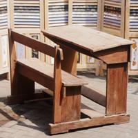 Bangku Kursi Meja Sekolah Jadul Kuno Jati Rustic