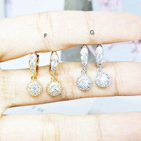 Anting Xuping Kecil Hoop Lapis Emas Batu Love Berlian Imitasi - BE151