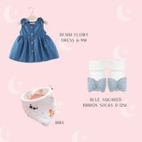 HAMPERS BABY GIRL / KADO BAYI PEREMPUAN / GIFT SET DRESS SEPATU BAJU - Denim flowy