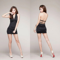 Mini Dress Bodycon Backless V-neck Baju Pesta Clubbing Sexy Import