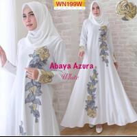 abaya/gamis/jubah/dress bordir azura putih