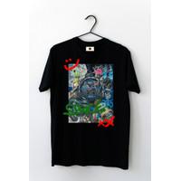 Kaos / Tshirt cowo cewe abstrak space - Hitam, L
