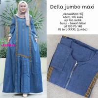 Baju Gamis Wanita Muslim Terbaru Ibu Remaja Della Jumbo Maxy Jeans Was