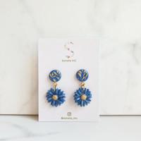 La Senorita | Handmade Clay Earrings - Short Dangles - Blue