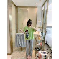 Baju Tidur Wanita Set Piyama Setelan Import Motif 3 in 1 CP dan HP