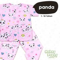 Setelan Baju Tidur Piyama Anak Perempuan Tanpa Kerah Motif Panda Pink