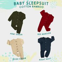 SLEEPSUIT BAJU TIDUR BAYI KATUN BAMBU HALUS ANTI ALERGI   BABY HIRAIN - BEIGE CREAM, 6-9 Bulan