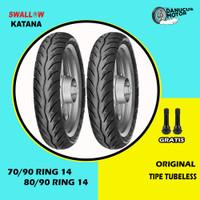 Paket Ban Motor Matic // SWALLOW KATANA 70/90 - 80/90 Ring 14 Tubeless