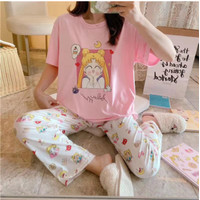 Piyama lengan pendek perempuan set sailor moon / baju tidur set - SAILORMOONPINK
