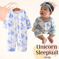Baju bayi unicorn piyama bayi pakaian Hachi Unicorn sleepsuit original - Biru, 66