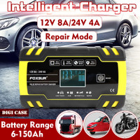 Charger Cas Aki Mobil Motor 12/24V 150Ah With LCD