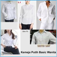 Kemeja Putih Basic Wanita LJ Katun Stretch White Shirt Formal Kantor