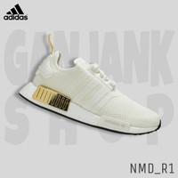 ADIDAS NMD_R1 White/Gold Sepatu Sport Casual Wanita 100% Original BNIB