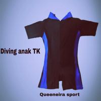 Baju renang Diving anak TK/ SD junior - hitam biru bca, M