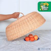 Tudung saji oval anyaman rotan alami | tutup makanan | food cover
