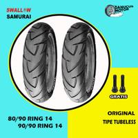 PAKET BAN TUBELESS SWALLOW SAMURAI MOTOR MATIC 80/90 - 90/90 RING 14