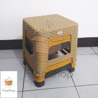 Bangku / Kursi Pendek Plastik Model Rotan