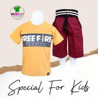 Setelan Baju Anak Cowok Laki 3-12 tahun Karakter FREE FIRE Terbaru
