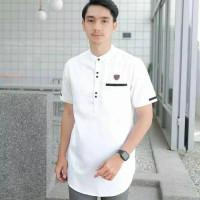 baju koko kurta pakistan pria dewasa lengan pendek terbaru - Putih, M