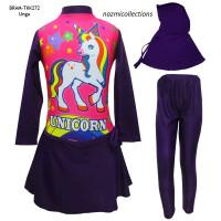Baju Renang Muslim Anak Karakter Unicorn Bintang (Size 3-6thn)
