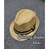 Topi fedora hat jazz import motif kancing hitam coklat putih cream - khaki