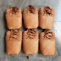 Cover pot anyaman purun coklat, Vas bunga anyaman, Bakul purun coklat