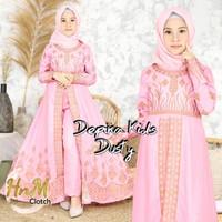 Baju Setelan Dress Muslim Anak Perempuan Bordir Gold Celana 7-10 Tahun