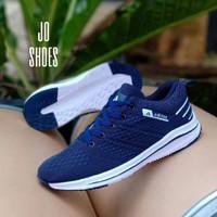 sepatu wanita adidas running sport sneaker joging cewe - Navy putih, 36