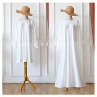 Inner Tunik / Inner Dress Putih Polos Lengan Panjang / Manset Gamis
