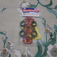 Tamiya BAN VELG Super Hard LP Tire Red 5 Spoke Wheel Neo VQS 95592