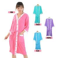 Kimono Handuk Wanita Dewasa Motif List | Baju Mandi Perempuan - Biru