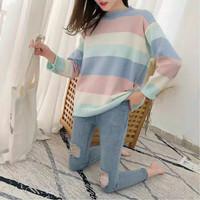 PROMO Baju Sweater Ayesha Rajut Motif Garis Cantik Wanita Murah