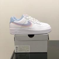 Sepatu Nike Air Force 1 White Blue PinkWoman Premium Original