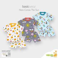 [New]Velvet Junior Baju anak bayi setelan pendek pakaian baby - Biru, M