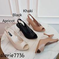 VALERIE sepatu heels wanita import tali belakang - Khaki, 36