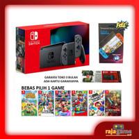 Nintendo Switch Console V2 Grey + Anti Gores + 1 Game (BERGARANSI)