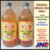 Cuka Apel Bragg 946ml USA Herbal Kolestrol Jantung Jerawat Asam Urat