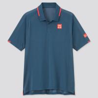 Baju Tenis Uniqlo Roger Federer Blue Tennis Polo Shirt Limited Edition