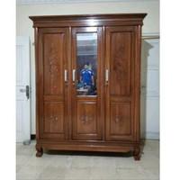 Lemari kayu JATI pakaian 3 pintu full / + kaca
