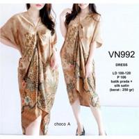 Baju Dress Pesta Model Dress Batik Kaftan Wanita VN992